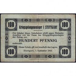 Allemagne - Camp de prisonniers - Stuttgart - 100 pfennig - 01/09/1915 - Etat : TB+