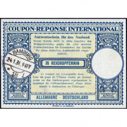Hamburg - Coupon-réponse international - 35 reichspfennig - 24/01/1931 - Etat : SPL