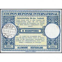 Haan - Coupon-réponse international - 35 reichspfennig - 25/02/1932 - Etat : pr.NEUF
