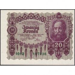 Autriche - Pick 76 - 20 kronen - 02/01/1922 - Etat : NEUF