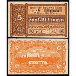 Allemagne - Notgeld - Aachen - 5 millions mark - Série B - 20/07/1923 - Etat : SUP