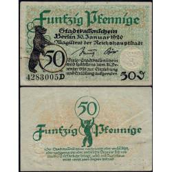 Allemagne - Notgeld - Berlin - 50 pfennig - Série D - 30/01/1920 - Etat : TTB