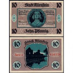 Pologne - Notgeld - Allenstein (Olsztyn) - 10 pfennig - Série A - 01/04/1921 - Etat : NEUF