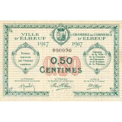 Elbeuf - Pirot 55-9 - 50 centimes - Petit numéro - 1917 - Etat : SPL+ à NEUF
