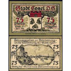 Pologne - Notgeld - Cosel (Kozla) - 75 pfennig - 01/04/1921 - Etat : NEUF