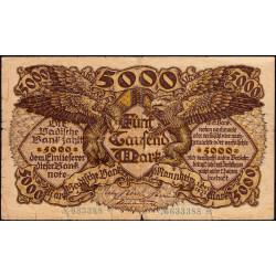 Banque de Baden - Pick S 909 - 5'000 mark - Sans série - 01/12/1922 - Etat : TB-