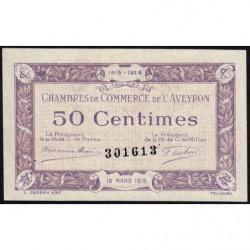 Rodez et Millau - Pirot 108-1 - Sans série - 50 centimes - 12/03/1915 - Etat : SUP+