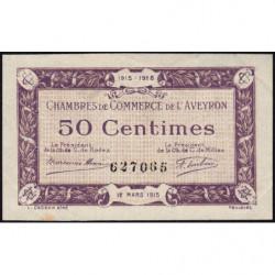 Rodez et Millau - Pirot 108-1a - 50 centimes - Sans série - 12/03/1915 - Etat : SUP