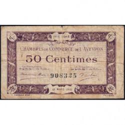 Rodez et Millau - Pirot 108-1 variété - Sans série - 50 centimes - 12/03/1915 - Etat : TB