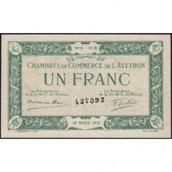 Rodez et Millau - Pirot 108-5 variété - Sans série - 1 franc - 12/03/1915 - Etat : SUP+