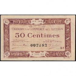 Rodez et Millau - Pirot 108-8 - Série 2 - 50 centimes - 12/03/1915 - Etat : SUP