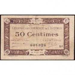 Rodez et Millau - Pirot 108-8 - Série 2 - 50 centimes - 12/03/1915 - Etat : TTB-