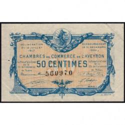 Rodez et Millau - Pirot 108-11 variété - Série 1 - 50 centimes - 19/07/1917 - Etat : SUP