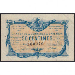 Rodez et Millau - Pirot 108-11b - Série 1 - 50 centimes - 19/07/1917 - Etat : SUP