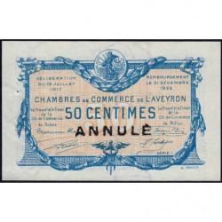 Rodez et Millau - Pirot 108-12 - 50 centimes - Annulé - Série 1 - 19/07/1917 - Etat : SPL