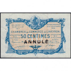 Rodez et Millau - Pirot 108-12 - Série 1 - 50 centimes - Annulé - 19/07/1917 - Etat : SPL