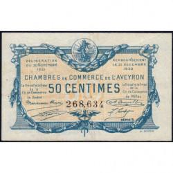 Rodez et Millau - Pirot 108-16a - Série 5 - 50 centimes - 30/11/1921 - Etat : TTB+