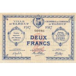 Elbeuf - Pirot 55-13 - 2 francs - 1917 - Petit numéro - Etat : SPL