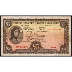 Irlande - Pick 3C_2 - 5 pounds - Lettre code C - 01/09/1941 - Etat : TB+