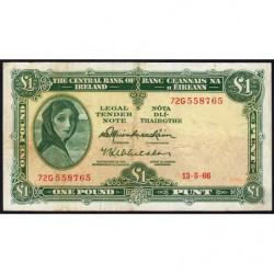 Irlande - Pick 64a - 1 pound - 13/05/1963 - Etat : TB+