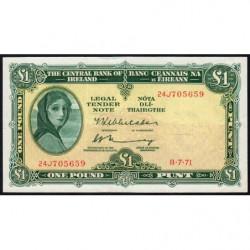 Irlande - Pick 64c_1 - 1 pound - 08/07/1971 - Etat : TTB-