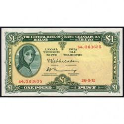 Irlande - Pick 64c_1 - 1 pound - 28/06/1972 - Etat : TTB+