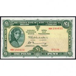 Irlande - Pick 64c_1 - 1 pound - 17/05/1974 - Etat : TTB+