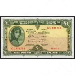 Irlande - Pick 64d - 1 pound - 30/09/1976 - Etat : SUP+