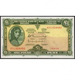 Irlande - Pick 64d - 1 pound - 30/09/1976 - Etat : SUP