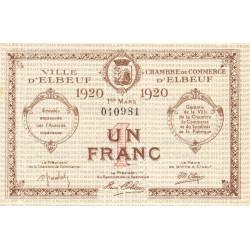 Elbeuf - Pirot 55-17 - 1 franc - 01/03/1920 - Etat : SUP