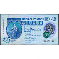 Irlande du Nord - Bank of Ireland - Pick 90 - 5 pounds - 31/05/2017 - Polymère - Etat : NEUF