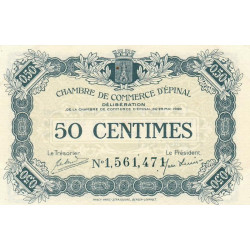 Epinal - Pirot 56-9 - 50 centimes - Chiffre 1 - 1920 - Etat : SUP+
