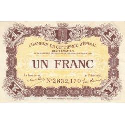 Epinal - Pirot 56-14a - 1 franc - Chiffre 2 - 1921 - Etat : SUP+