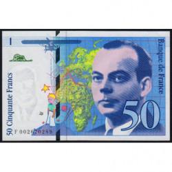 F 72-01b - 1992 - 50 francs - Saint-Exupéry - Série F - Etat : SPL