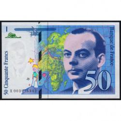 F 72-01b - 1992 - 50 francs - Saint-Exupéry - Série X - Etat : NEUF