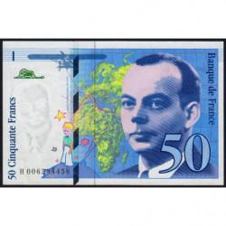 F 72-02 - 1993 - 50 francs - Saint-Exupéry - Série H - Etat : SUP+