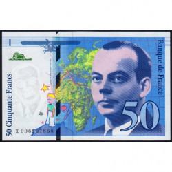 F 72-02 - 1993 - 50 francs - Saint-Exupéry - Série X - Etat : SPL
