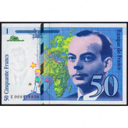 F 72-02 - 1993 - 50 francs - Saint-Exupéry - Série E - Etat : SPL