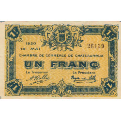 Chateauroux - Pirot 46-23 - 1 franc - 10/05/1920 - Etat : TTB+