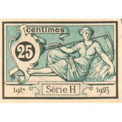 Aurillac (Cantal) - Pirot 16-11a - Série H - 25 centimes - 1917 - Etat : SPL