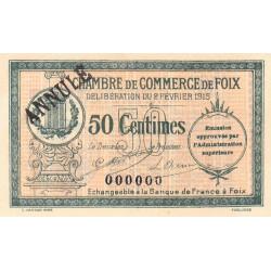 Foix - Pirot 59-09 - 50 centimes - Annulé - 1915 - Etat : NEUF