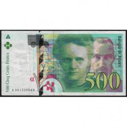 F 76-01 - 1994 - 500 francs - Pierre et Marie Curie - Série A - Etat : TB