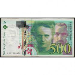 F 76-01 - 1994 - 500 francs - Pierre et Marie Curie - Série J - Etat : TB