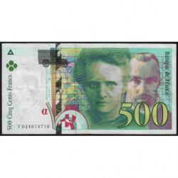 F 76-01 - 1994 - 500 francs - Pierre et Marie Curie - Série F - Etat : TB