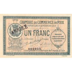 Foix - Pirot 59-11 - 1 franc - Annulé - 1915 - Etat : NEUF