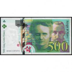 F 76-02 - 1995 - 500 francs - Pierre et Marie Curie - Série D - Etat : SUP