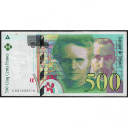 F 76-02 - 1995 - 500 francs - Pierre et Marie Curie - Série G - Etat : TTB