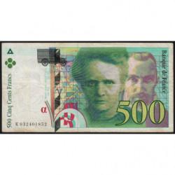 F 76-02 - 1995 - 500 francs - Pierre et Marie Curie - Série K - Etat : TB-
