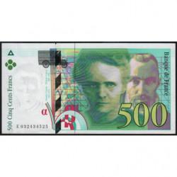 F 76-02 - 1995 - 500 francs - Pierre et Marie Curie - Série E - Etat : SPL+