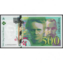 F 76-02 - 1995 - 500 francs - Pierre et Marie Curie - Série A - Etat : TTB+